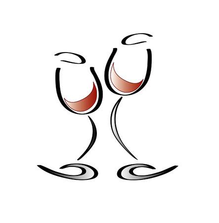Dancing glasses of wine Stock Vector - 3764104