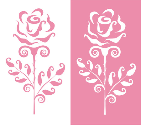 postcard: Postcard with two roses Illustration