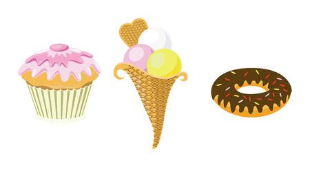 マフィン、アイスクリーム、ドーナツ