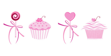 confection: Muffins and lollipops Illustration