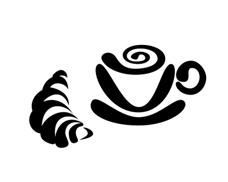 Cup of coffee and croissant Illustration