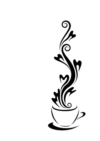 coffee: A steaming cup of coffee Illustration