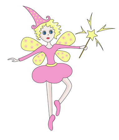 Starry fairy in a rosy dress with magic wings dancing like ballerina Vector