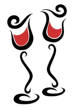 Two dancing glasses with red wine Ilustração