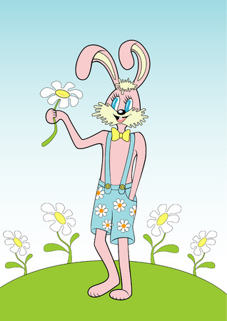 childern: Happy pink hare in the funny shorts