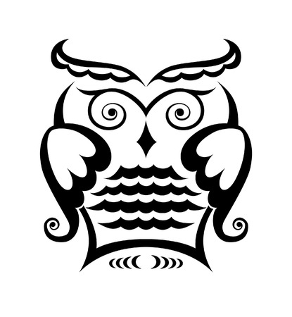 owl illustration: Pure black lines of wise owl
