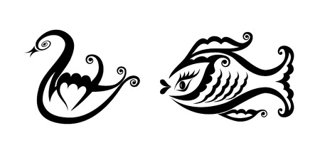 Pure black lines of graceful swan and coquettish fish
