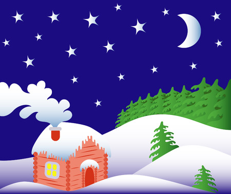 Freezing winter night in the magical forest Vector