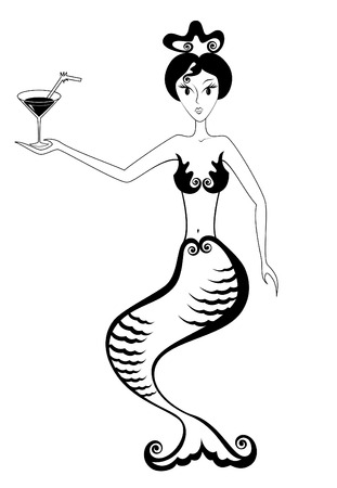 Mermaid with glass of cocktail