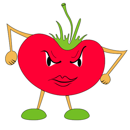 angry vegetable: Very angry tomato Illustration