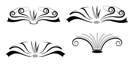 persona escribiendo: Un conjunto de cuatro libros con estilo abrir p�ginas Vectores