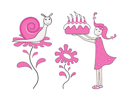 Girl and snail Vector