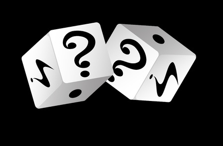 probability: White dices on black background