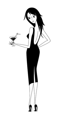 A glamour young lady holds in hand a glass of Martini  Vector