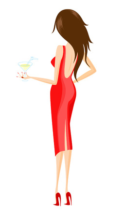 A glamour young lady holds in hand a glass of Martini Banco de Imagens - 4303060