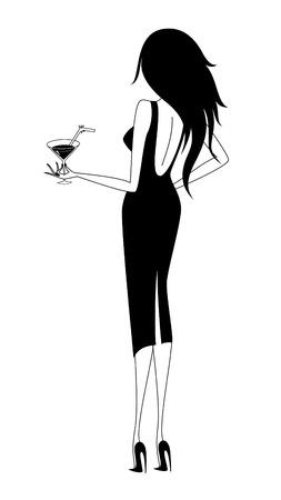 グラマーの若い女性は手にマルティーニのガラスを保持します