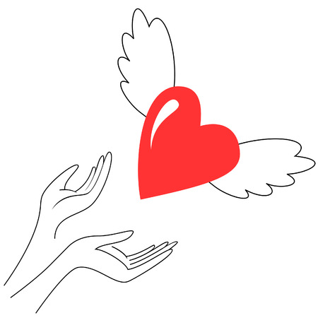 Two womens hands giving fly heart Vector