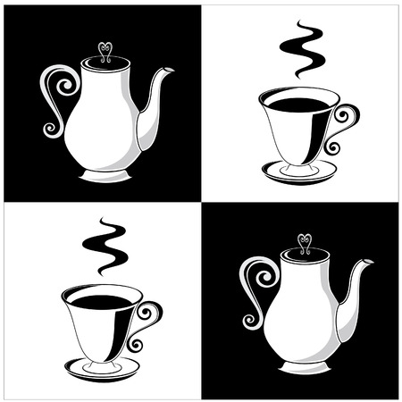 coffee: A coffee cup and a pot Illustration