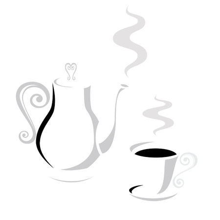 cup: A coffee cup and a pot Illustration