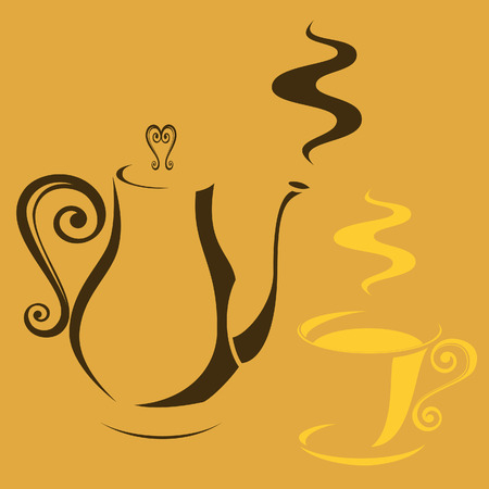 hot plate: Cafetera y una taza
