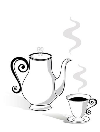コーヒー ポットとカップ