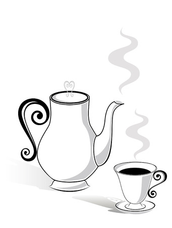 Coffee pot and a cup Vector