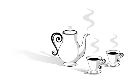 Coffee pot and two cups Иллюстрация
