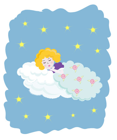 baby girl: Little angel sleeping in the sky Illustration