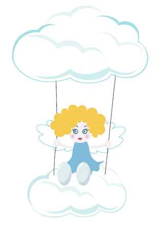 Little angel swinging in the sky Vector