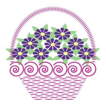 バスケットの花  イラスト・ベクター素材