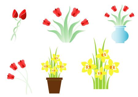 Set of spring flowers Vector
