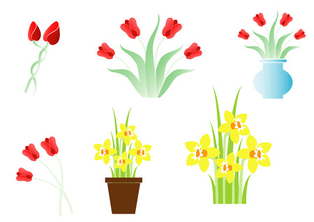 Set of spring flowers Vector