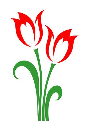 Bende van voorjaar tilips op een witte achtergrond  Stock Illustratie