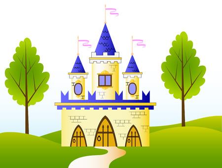 castillos de princesas: Castillo de cuento de hadas Vectores
