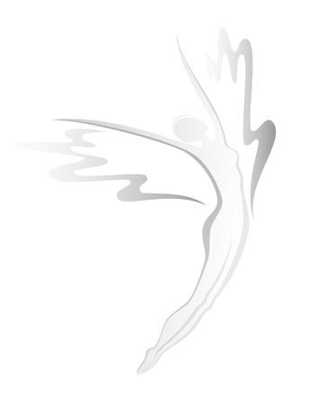 donna volante: Silhouette di volare donna