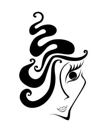 hairdo: Abstract volto di donna con capelli turbinii Vettoriali