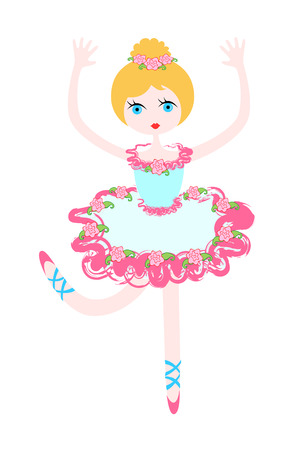 Little ballerina in rose Illustration