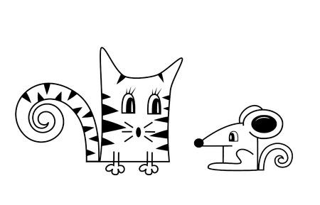 silueta de gato: Gato y el ratón