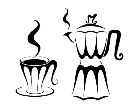 Coffee cup and pot