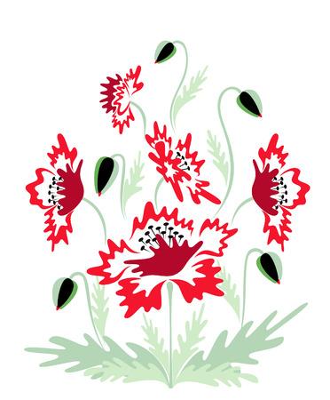 Red poppies background  Ilustração