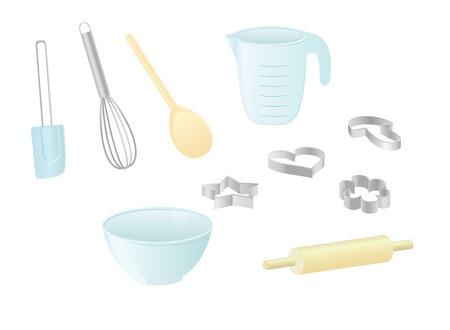 Geïsoleerde vector afbeeldingen van keukengerei Stock Illustratie