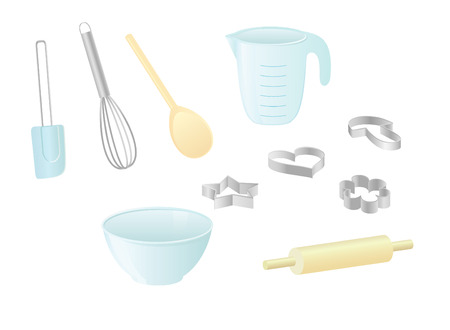 rolling: Isolated vector images of kitchen utensils
