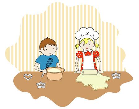 niños cocinando: Niño y niña de cocina Vectores