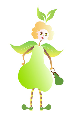 still life food: Miss Pear is working around Illustration