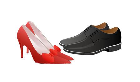 shoe sale: Mujer en rojo y el hombre de negro