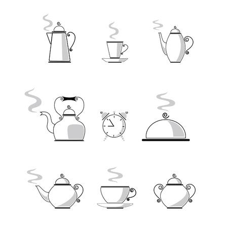 コーヒーと紅茶のアイコン セット  イラスト・ベクター素材
