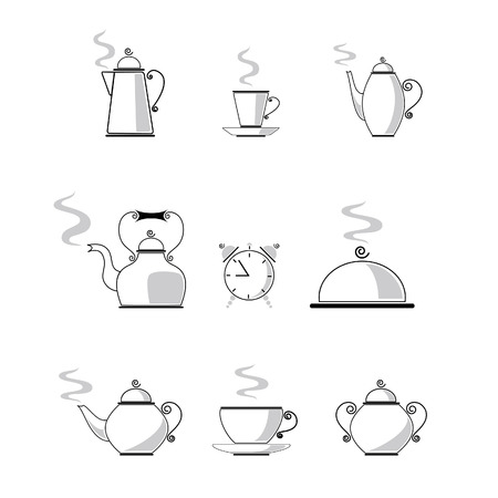Set of caffee and tea icons  Illustration
