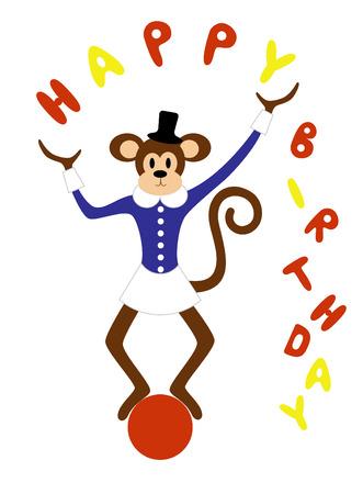 juggling: Un mono lindo malabarismo sobre una bola