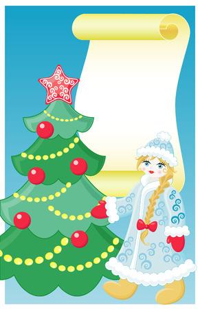 Snow girl and christmas tree Vector