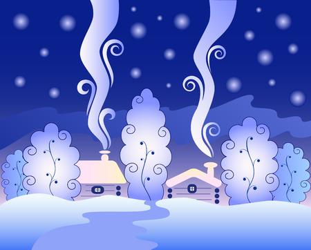 nuit hiver: Gel nuit d'hiver dans la for?magique